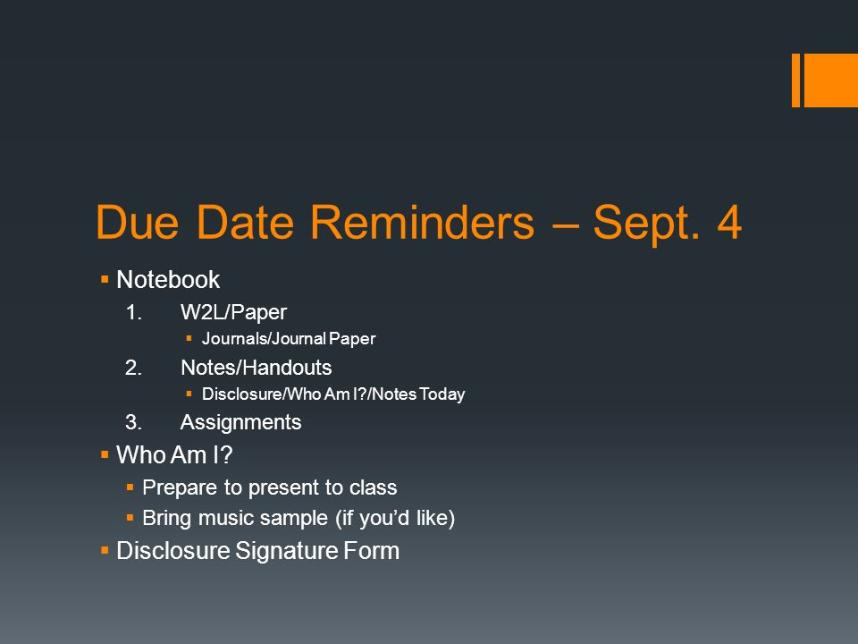 Due Date Reminders – Sept.