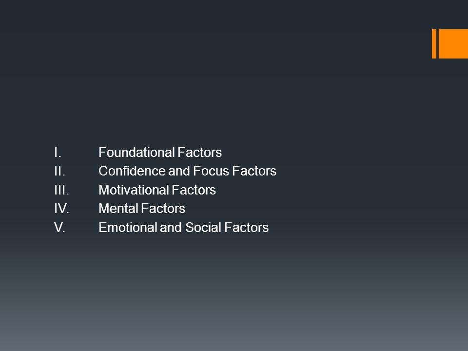 I.Foundational Factors II.Confidence and Focus Factors III.Motivational Factors IV.Mental Factors V.Emotional and Social Factors