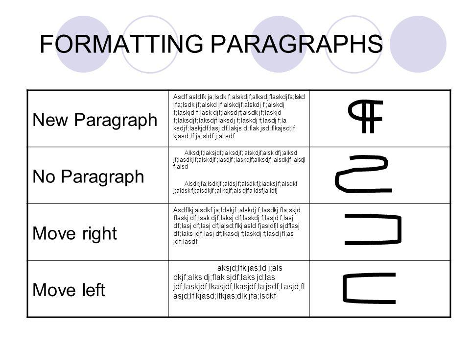 FORMATTING PARAGRAPHS New Paragraph Asdf asldfk ja;lsdk f;alskdjf;alksdjflaskdjfa;lskd jfa;lsdk jf;alskd jf;alskdjf;alskdj f ;alskdj f;laskjd f;lask d