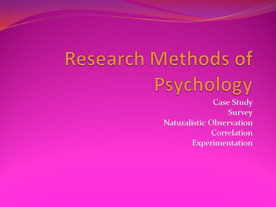 Case Study Survey Naturalistic Observation Correlation Experimentation