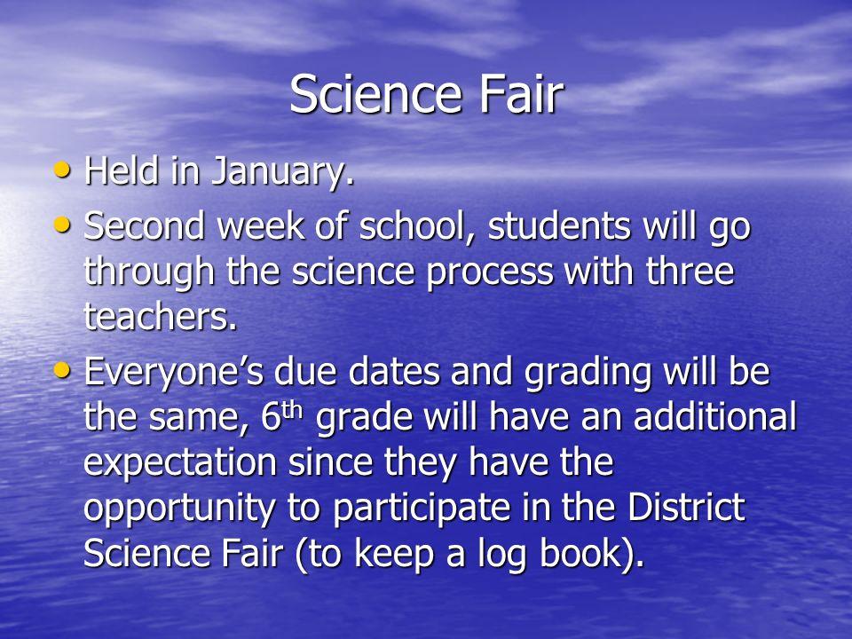 Science Fair Held in January. Held in January.