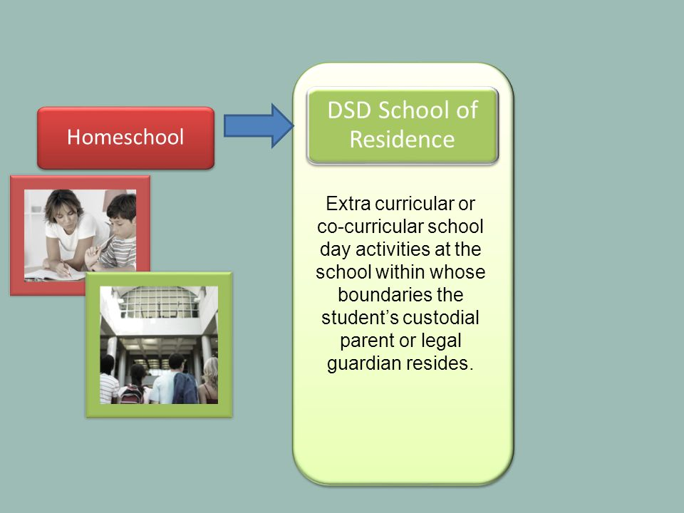 Homeschool DSD School of Residence Extra curricular or co-curricular school day activities at the school within whose boundaries the students custodial parent or legal guardian resides.