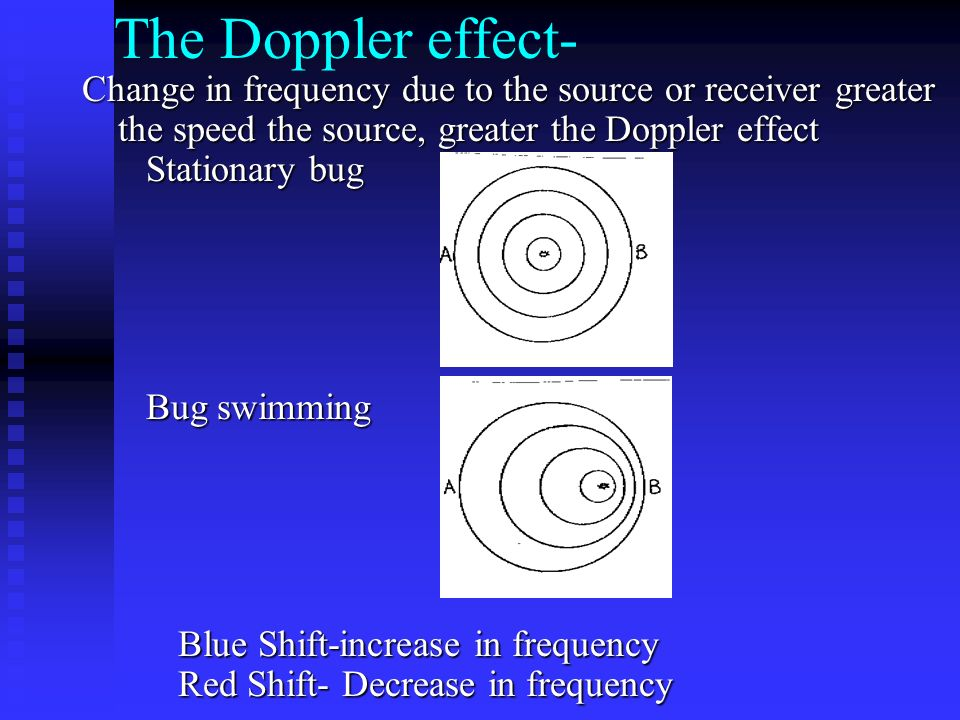 The Doppler effect- Change in frequency due to the source or receiver greater the speed the source, greater the Doppler effect Stationary bug Bug swimming Bug swimming Blue Shift-increase in frequency Red Shift- Decrease in frequency