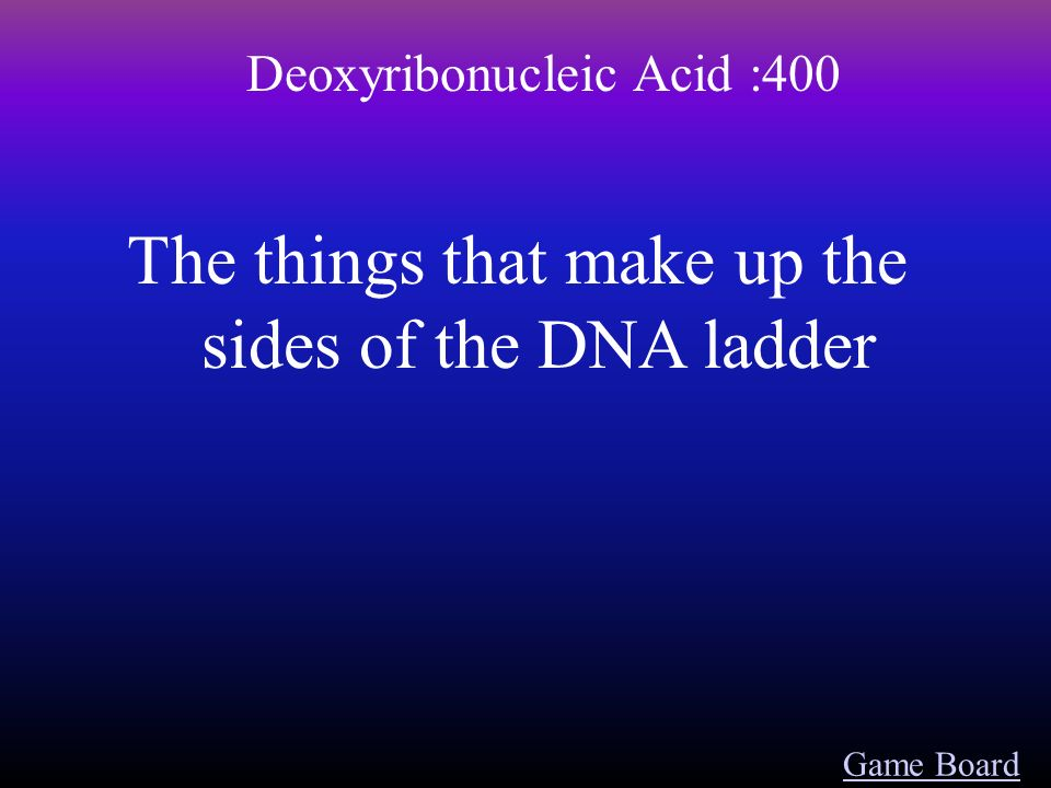 Game Board Deoxyribonucleic Acid :300 This holds the As and Ts together and the Cs and Gs together