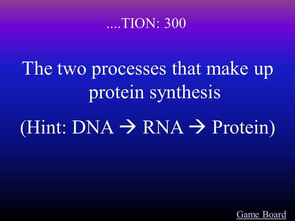 Game Board....TION: 200 Changes in the DNA sequence