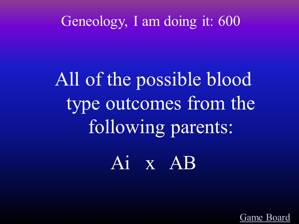 Game Board Geneology, I am doing it: 500 The possibility of getting the recessive trait if one parent is heterozygus and the other is homozygus dominant
