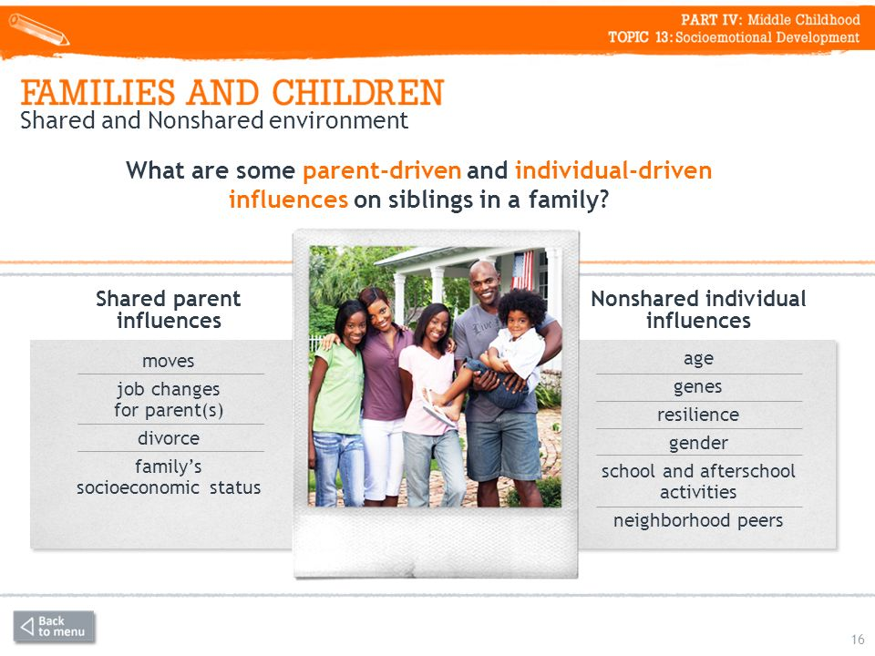 Shared and Nonshared environment 16 What are some parent-driven and individual-driven influences on siblings in a family.