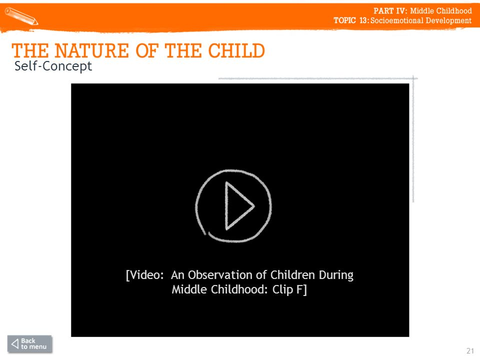 Self-Concept 21 [Video: An Observation of Children During Middle Childhood: Clip F]
