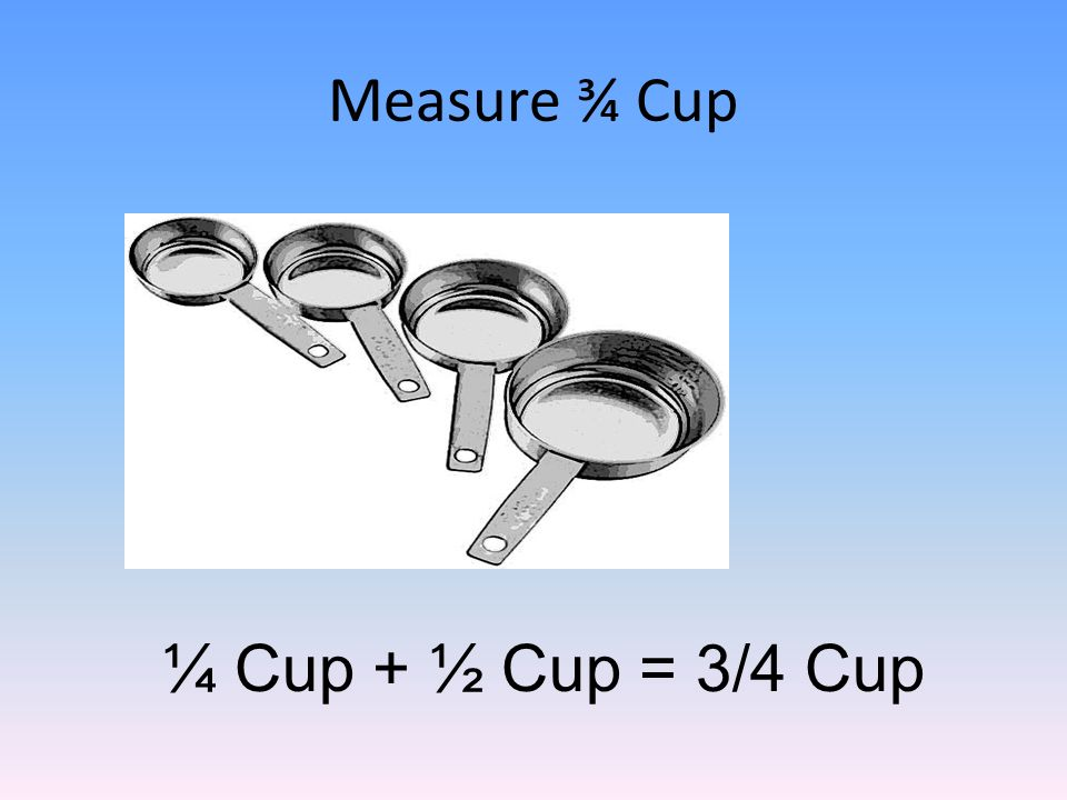 Measure ¾ Cup ¼ Cup + ½ Cup = 3/4 Cup