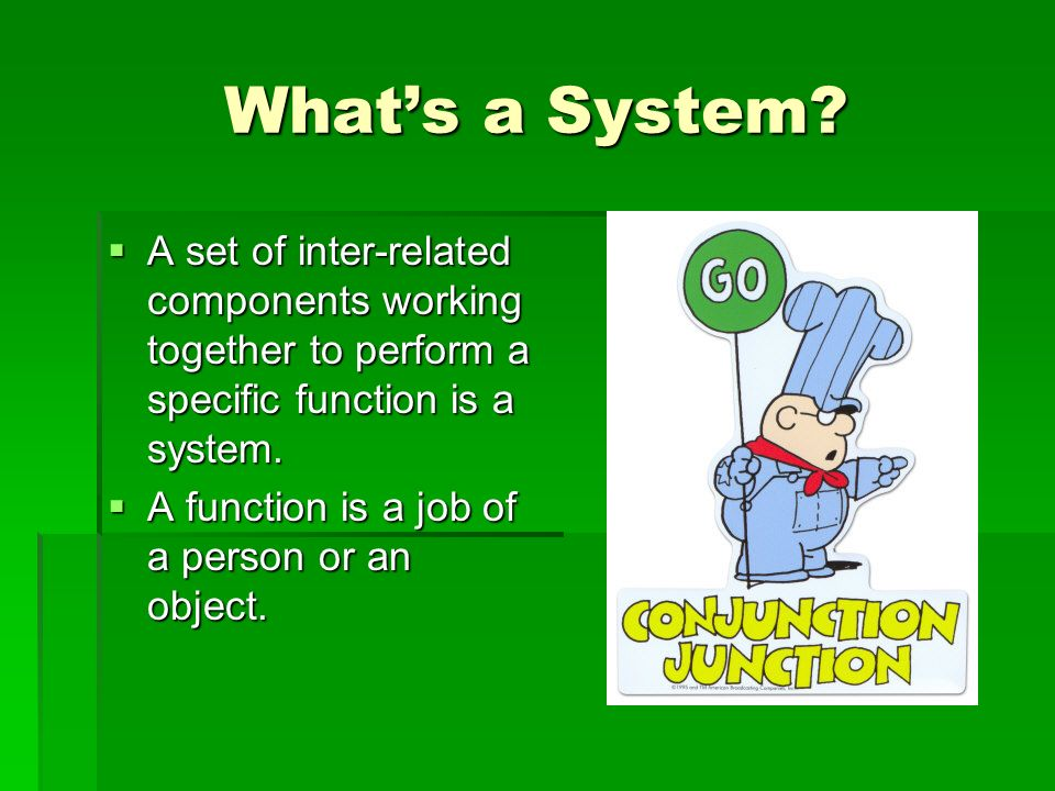 Whats a System? A set of inter-related components working together to perform a specific function is a system. A set of inter-related components worki