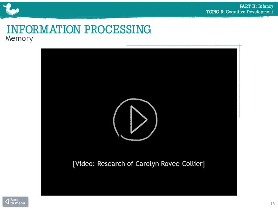Memory 16 [Video: Research of Carolyn Rovee-Collier]
