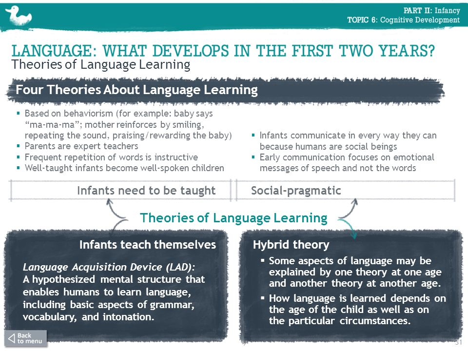 Four Theories About Language Learning Theories of Language Learning Infants need to be taught Based on behaviorism (for example: baby saysma-ma-ma; mo