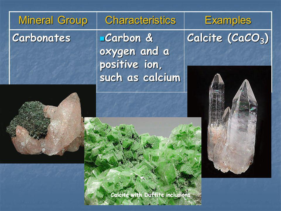 Mineral Group CharacteristicsExamples Carbonates Carbon & oxygen and a positive ion, such as calcium Carbon & oxygen and a positive ion, such as calci