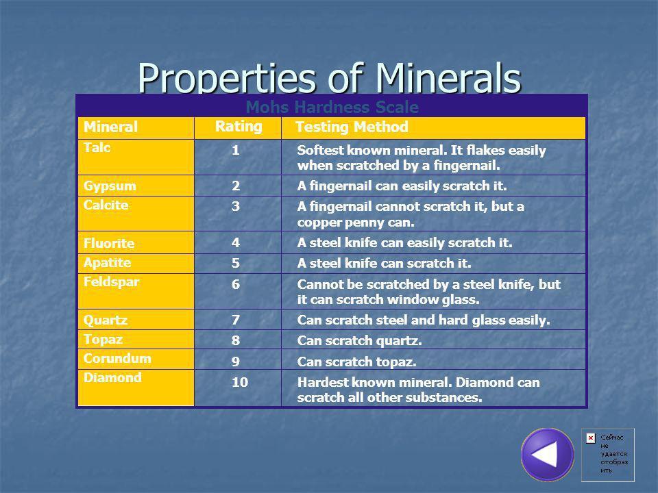 Properties of Minerals Mohs Hardness Scale Mineral Talc Gypsum Calcite Fluorite Apatite Feldspar Quartz Topaz Corundum Diamond Rating 1Softest known mineral.