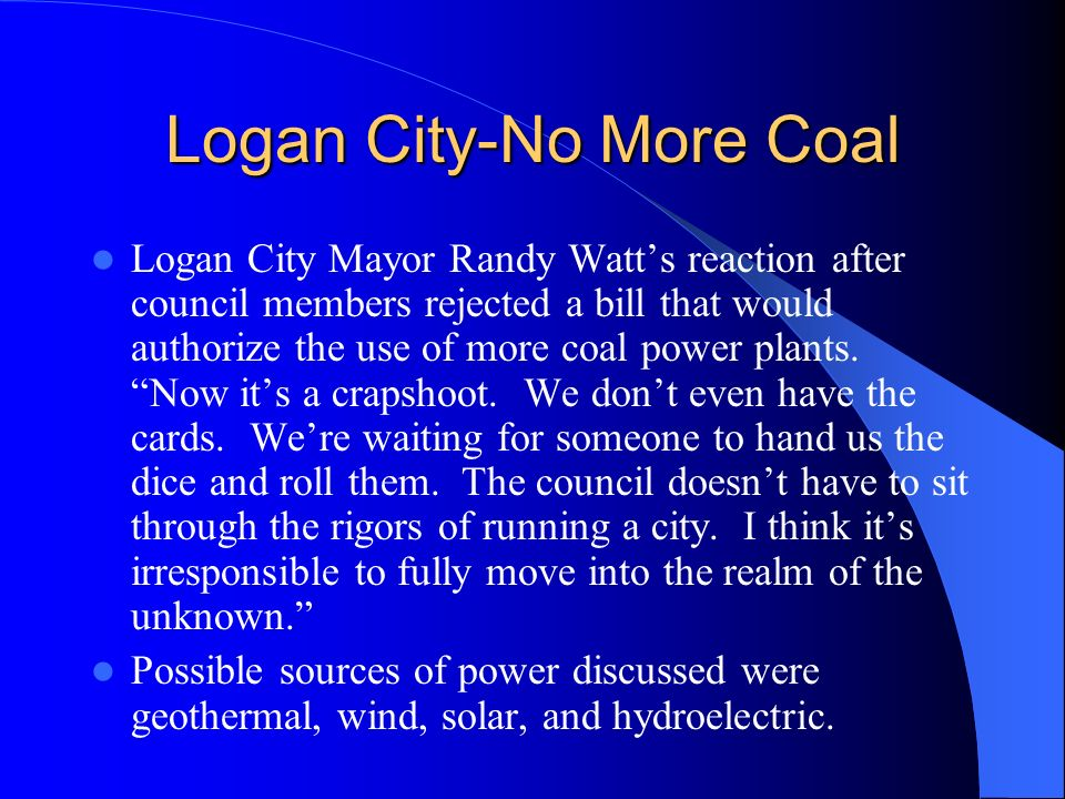Energy Source and Emissions are Important Topics Locally as Well