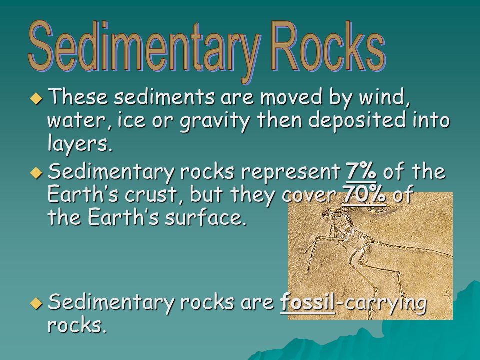 These sediments are moved by wind, water, ice or gravity then deposited into layers.