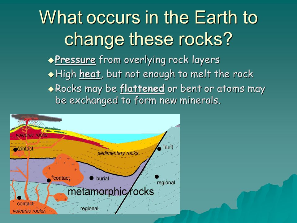 What occurs in the Earth to change these rocks? Pressure from overlying rock layers Pressure from overlying rock layers High heat, but not enough to m