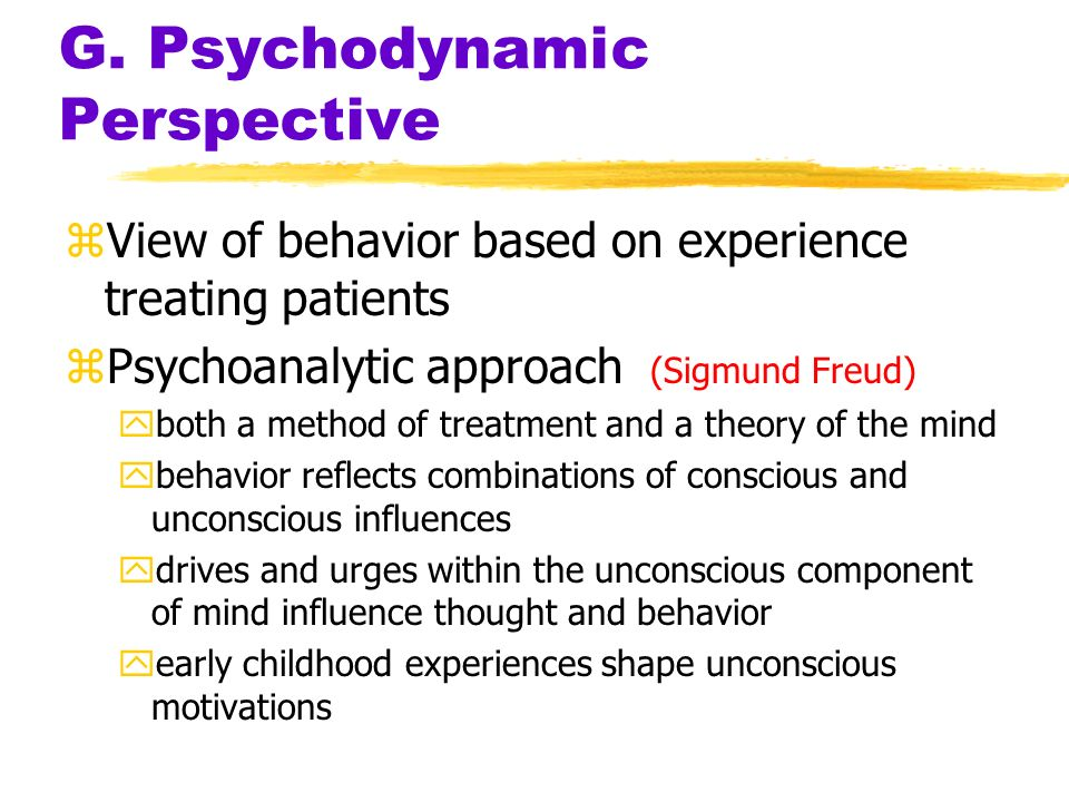 G. Psychodynamic Perspective zView of behavior based on experience treating patients zPsychoanalytic approach (Sigmund Freud) yboth a method of treatm