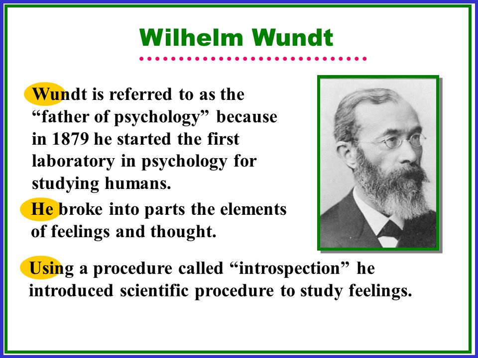 Wilhelm Wundt Wundt is referred to as the father of psychology because in 1879 he started the first laboratory in psychology for studying humans. He b