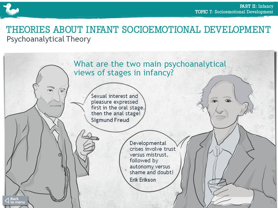 What are the two main psychoanalytical views of stages in infancy.