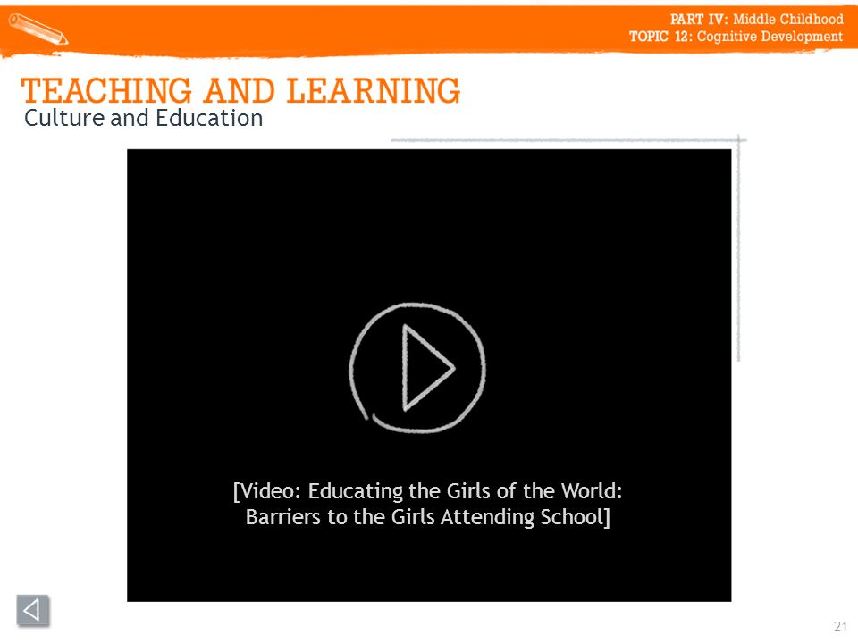 21 Culture and Education [Video: Educating the Girls of the World: Barriers to the Girls Attending School]
