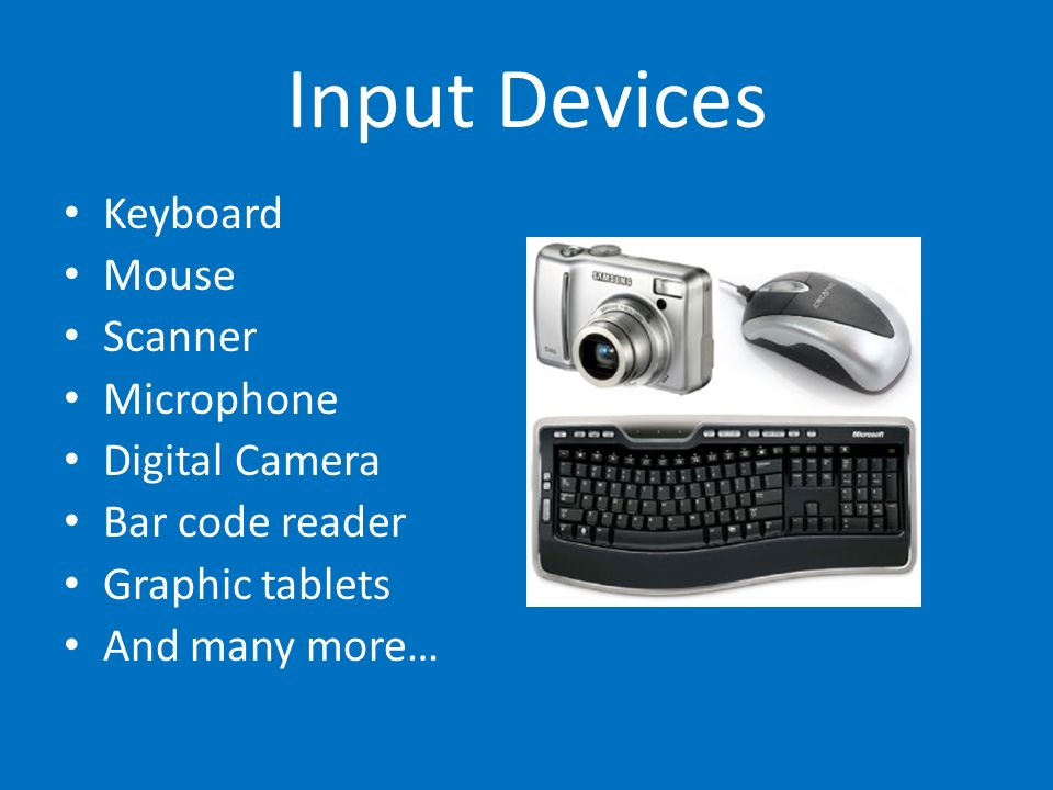 Input Devices Keyboard Mouse Scanner Microphone Digital Camera Bar code reader Graphic tablets And many more…