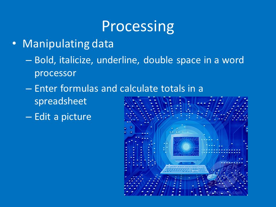 Processing Manipulating data – Bold, italicize, underline, double space in a word processor – Enter formulas and calculate totals in a spreadsheet – E