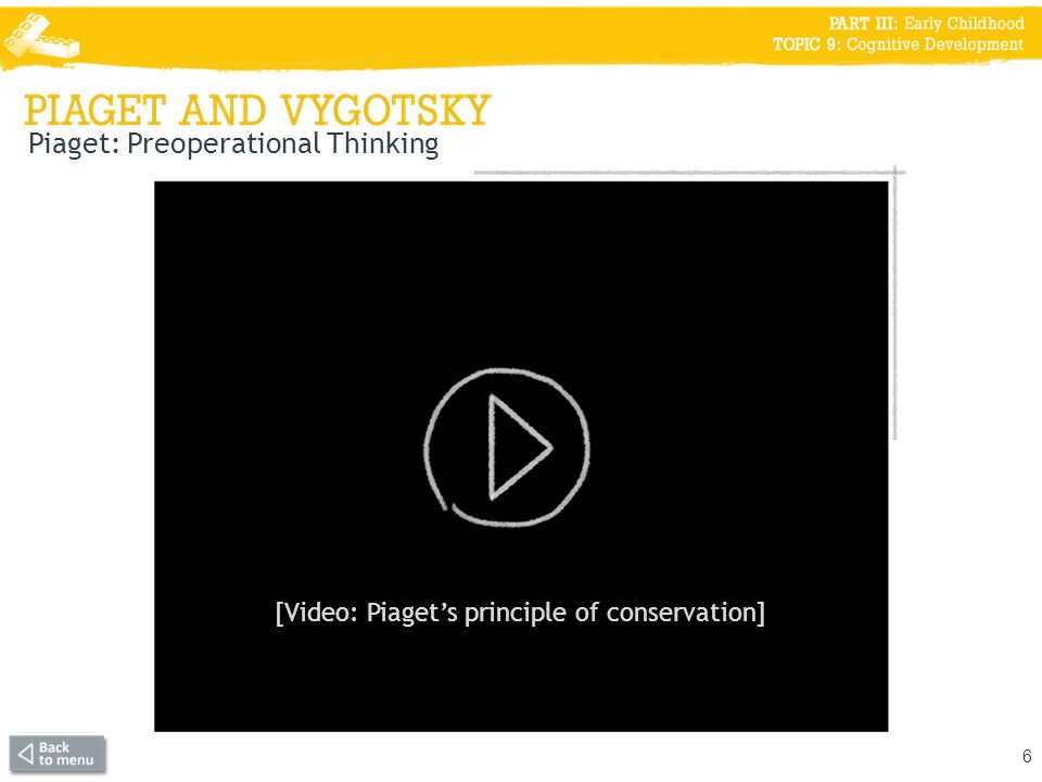 Piaget: Preoperational Thinking 6 [Video: Piagets principle of conservation]