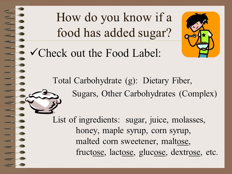 How do you know if a food has added sugar? Check out the Food Label: Check out the Food Label: Total Carbohydrate (g): Dietary Fiber, Sugars, Other Ca