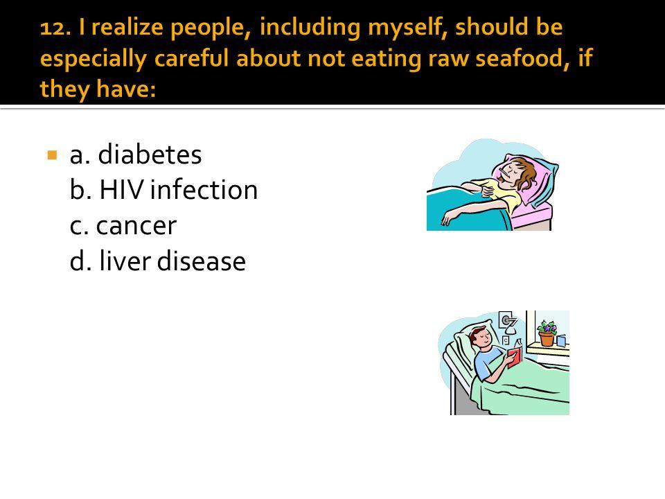 a. diabetes b. HIV infection c. cancer d. liver disease