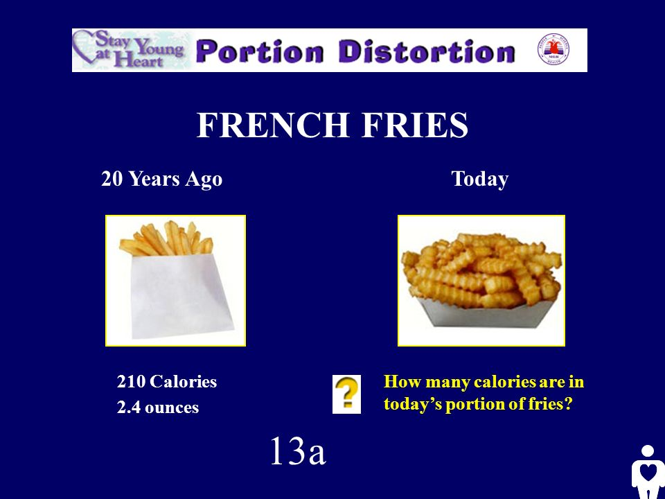 FRENCH FRIES 20 Years AgoToday 210 Calories 2.4 ounces How many calories are in todays portion of fries.