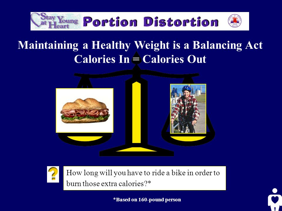 How long will you have to ride a bike in order to burn those extra calories * *Based on 160-pound person Maintaining a Healthy Weight is a Balancing Act Calories In = Calories Out
