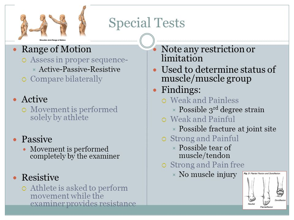 Special Tests Range of Motion Assess in proper sequence- Active-Passive-Resistive Compare bilaterally Active Movement is performed solely by athlete P