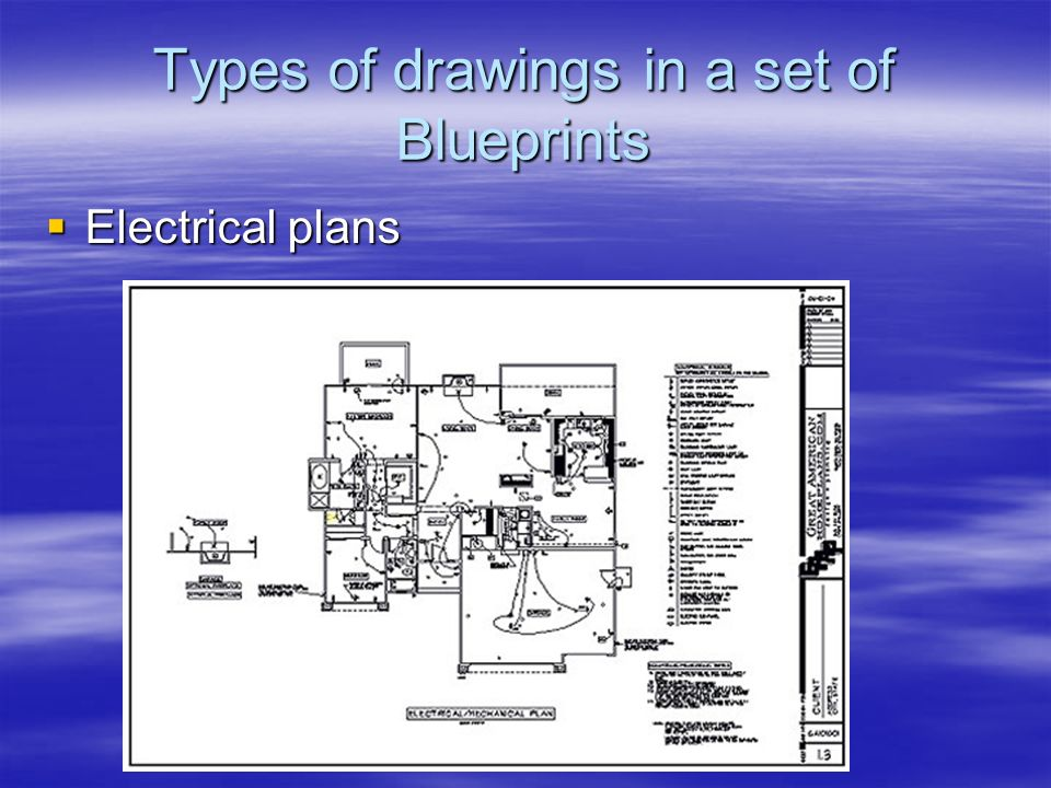 Types of drawings in a set of Blueprints Electrical plans Electrical plans