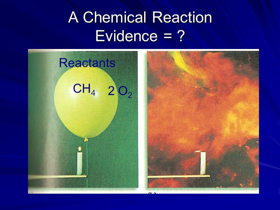 A Chemical Reaction Evidence = ? CH 4 2 O 2 Reactants