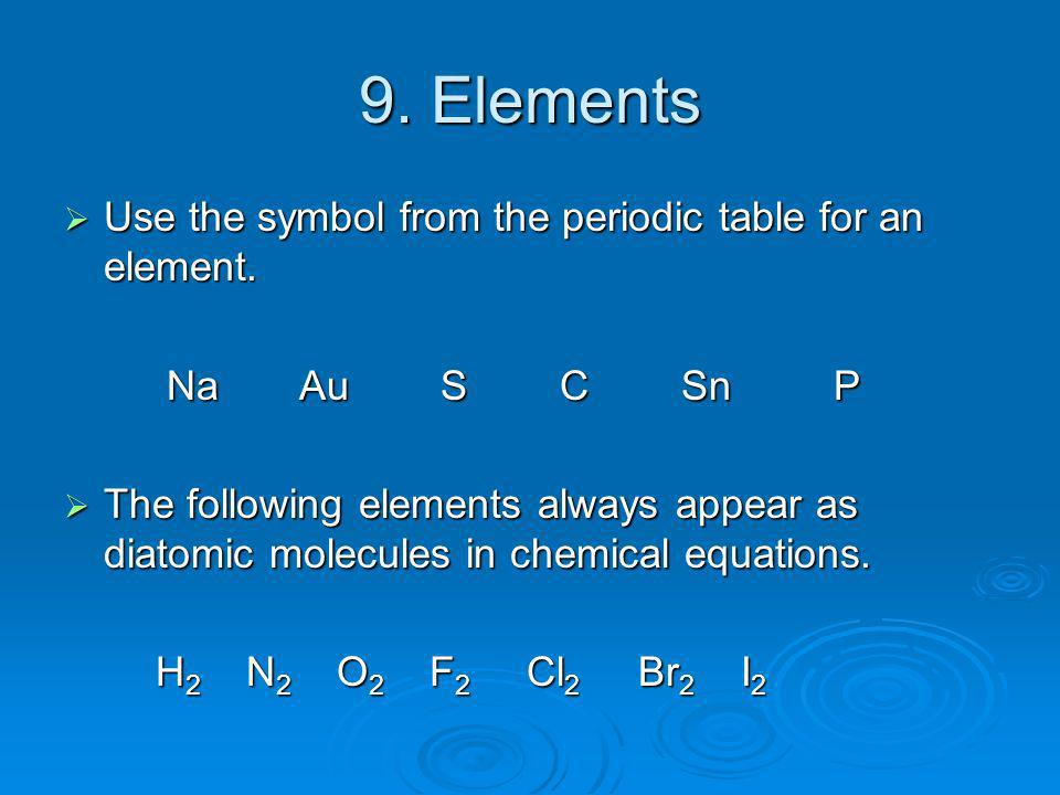 9. Elements Use the symbol from the periodic table for an element. Use the symbol from the periodic table for an element. Na Au S C Sn P Na Au S C Sn
