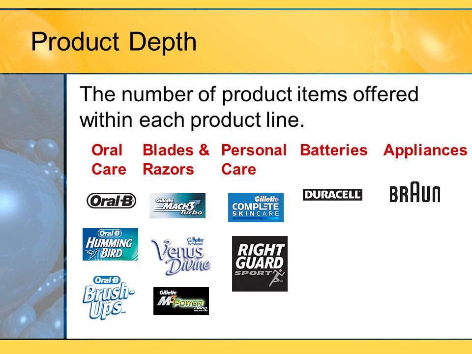 Product Depth Oral Care Blades & Razors Personal Care BatteriesAppliances The number of product items offered within each product line.