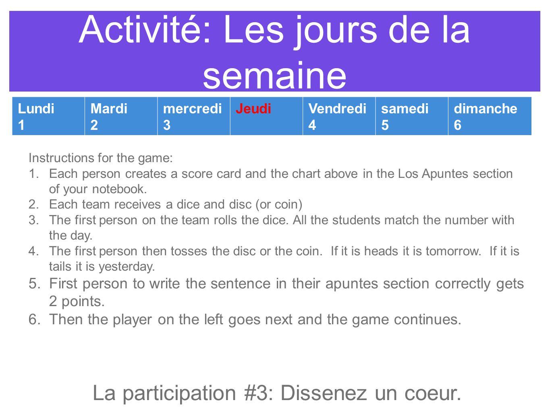 Activité: Les jours de la semaine Lundi 1 Mardi 2 mercredi 3 JeudiVendredi 4 samedi 5 dimanche 6 Instructions for the game: 1.Each person creates a sc