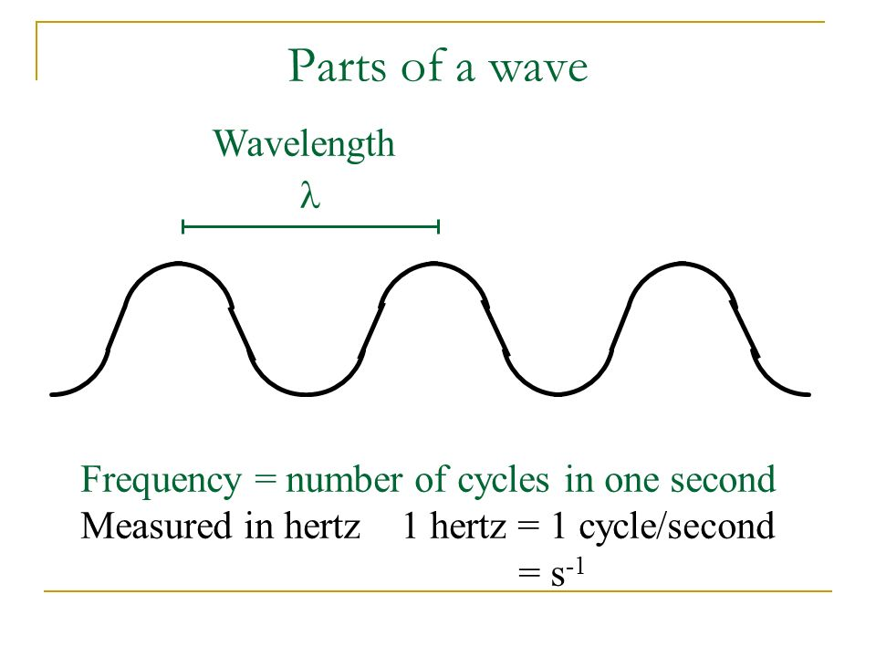 Parts of a wave Wavelength Frequency = number of cycles in one second Measured in hertz 1 hertz = 1 cycle/second = s -1