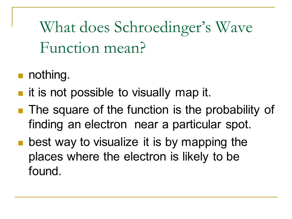What does Schroedingers Wave Function mean? nothing. it is not possible to visually map it. The square of the function is the probability of finding a