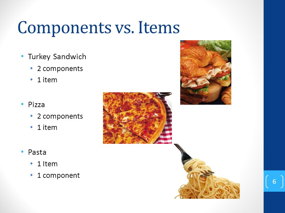 Components vs. Items Turkey Sandwich 2 components 1 item Pizza 2 components 1 item Pasta 1 Item 1 component 6