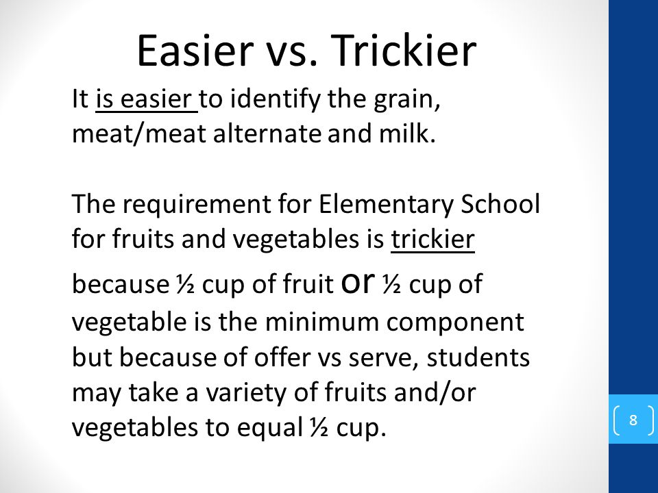 8 It is easier to identify the grain, meat/meat alternate and milk. The requirement for Elementary School for fruits and vegetables is trickier becaus