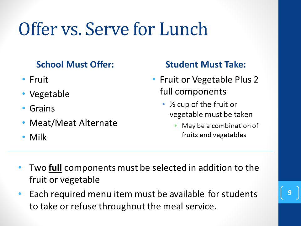 Offer vs. Serve for Lunch School Must Offer: Fruit Vegetable Grains Meat/Meat Alternate Milk Student Must Take: Fruit or Vegetable Plus 2 full compone