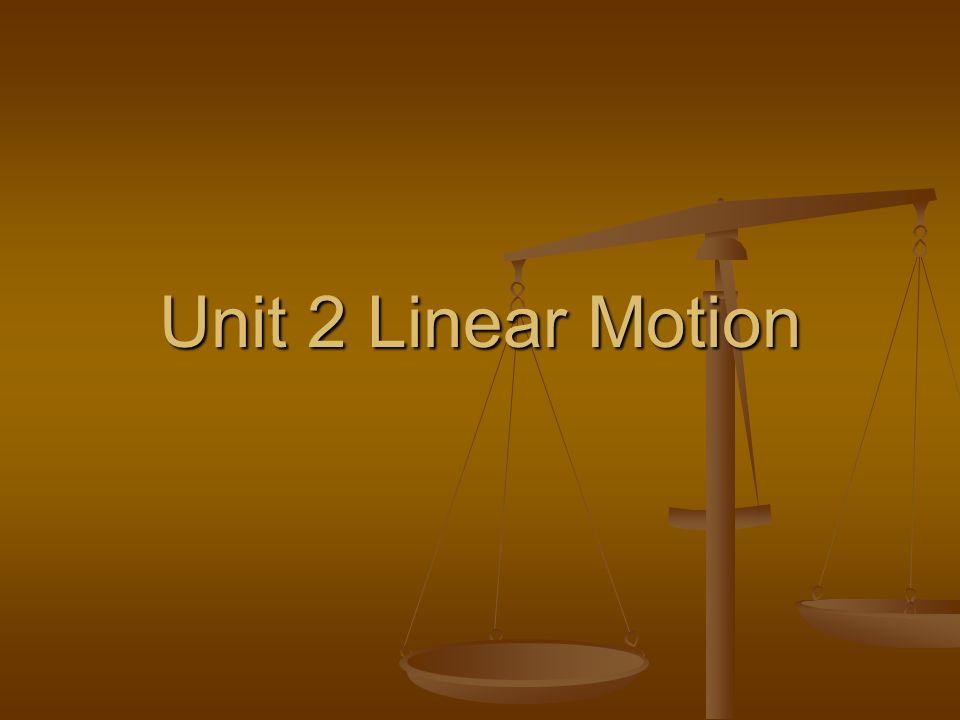Unit 2 Linear Motion