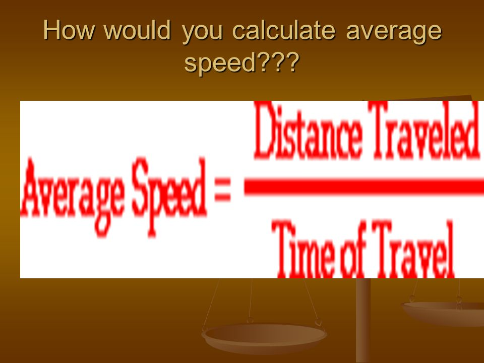 How would you calculate average speed???