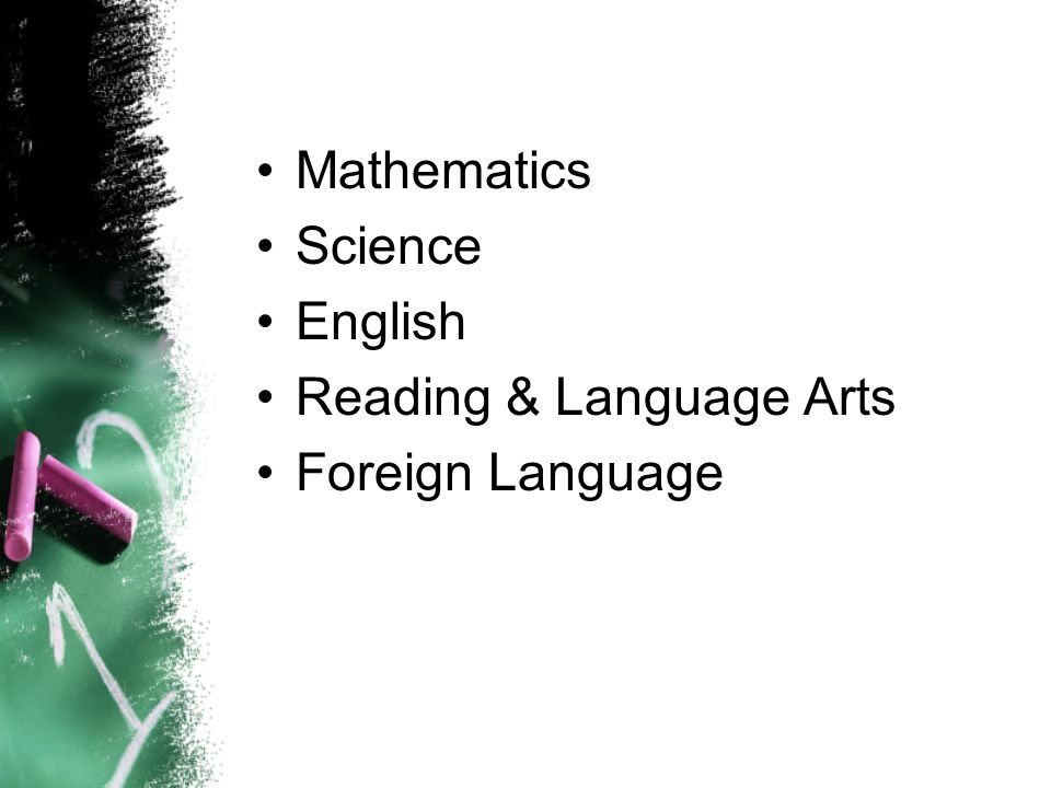 Mathematics Science English Reading & Language Arts Foreign Language