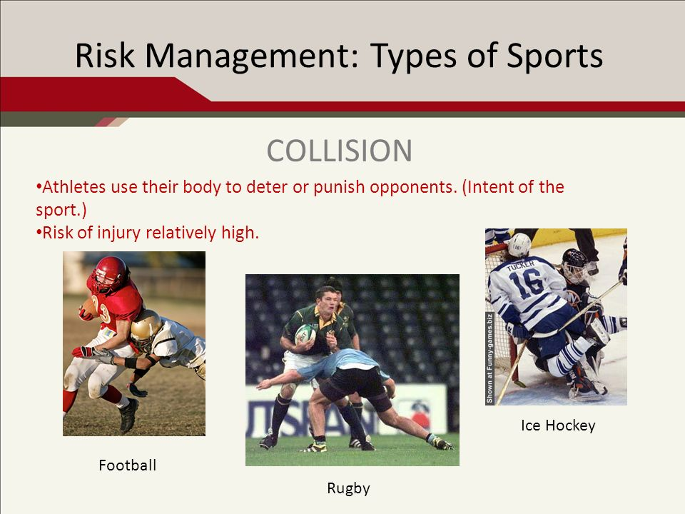 Risk Management: Types of Sports Contact occurs, but is not the intent of the sport and discouraged by rules.