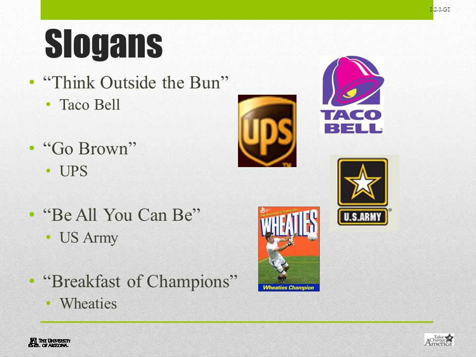 1.2.3.G1 Slogans Think Outside the Bun Taco Bell Go Brown UPS Be All You Can Be US Army Breakfast of Champions Wheaties