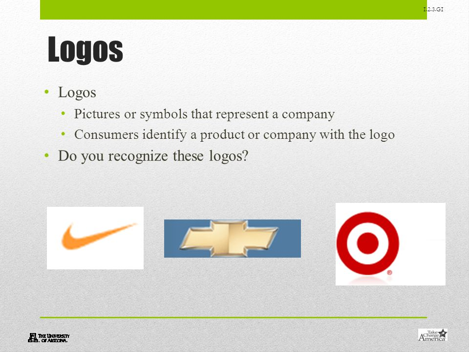 1.2.3.G1 Logos Pictures or symbols that represent a company Consumers identify a product or company with the logo Do you recognize these logos?