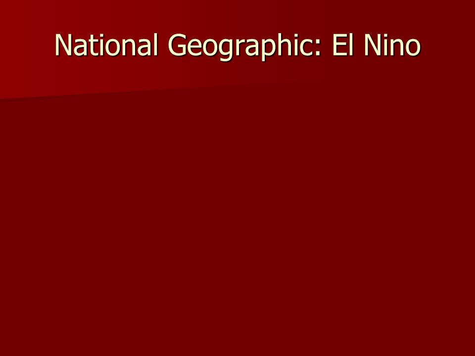 National Geographic: El Nino